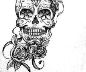 flowers, skull, and tattoo image