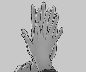 hands, anime, and couple image