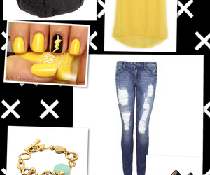 blouse, ripped jeans, and yellow image