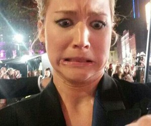 autograph, funny face, and Jennifer Lawrence image