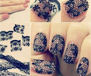 nails, lace, and diy image