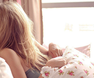 girl, sun, and floral cushion image
