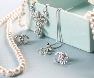 chanel, pearls, and earrings image