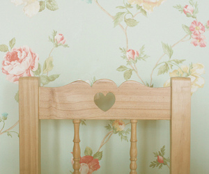 chair, flowers, and heart image