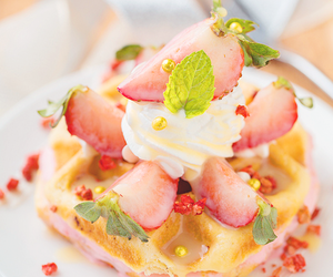 waffles, food, and strawberry image