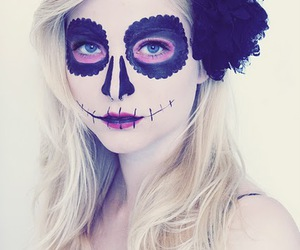 blond, rockabilly, and sugar skull image