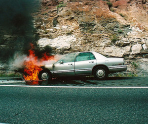 car, fire, and accident image