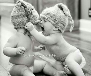 blackwhite and baby cute twin image