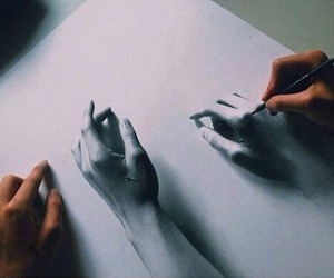 art, drawing, and hands image