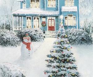 christmas, house, and snowman image