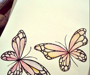 butterflies, drawing, and draws image