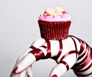 red, cupcake, and hand image