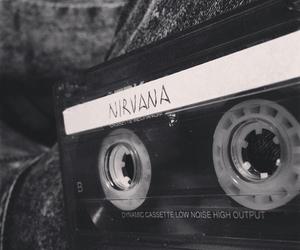 music, nirvana, and black and white image