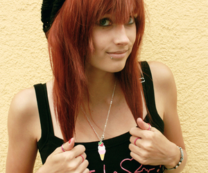pretty girl, red, and great ! image