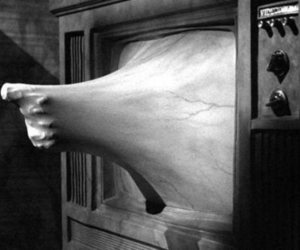 tv, black and white, and hand image