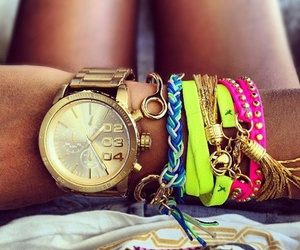 watch, bracelet, and neon image
