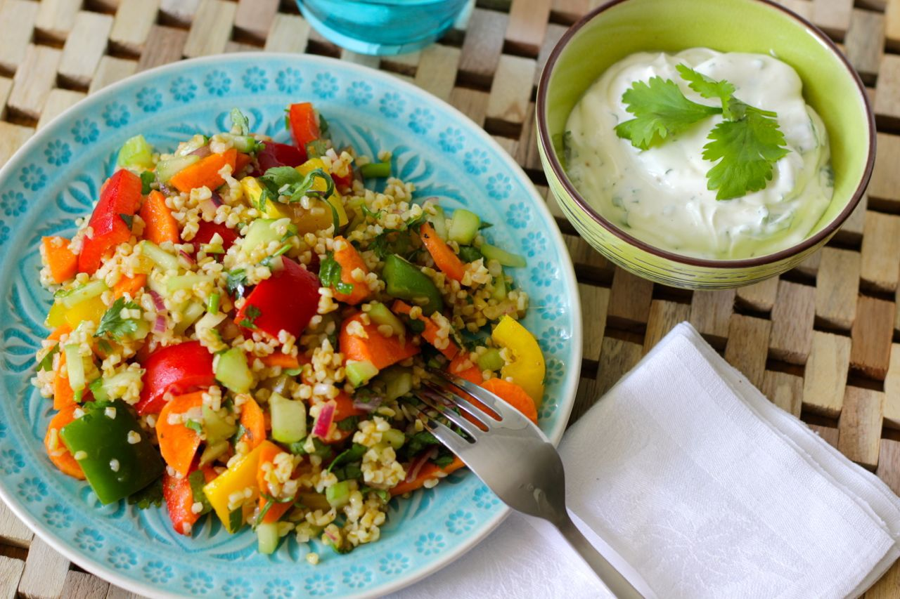 recipe, salad, and bulgur image