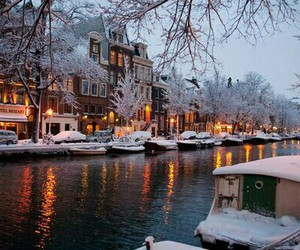 amsterdam, snow, and lights image