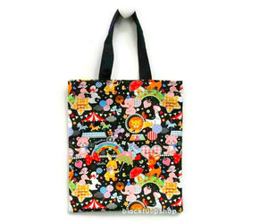 japanese kawaii fabric, cute black tote bag, and swimmer retro style image