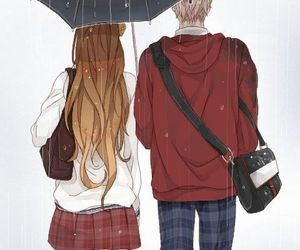 anime, couple, and rain image