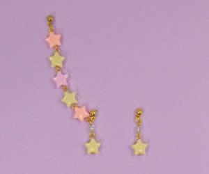 pastel colors, cute star earrings, and sweet lolita jewelry image
