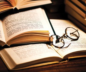 books, glasses, and notes image