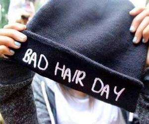 hair, bad hair day, and beanie image