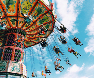 carousel, clouds, and colors image