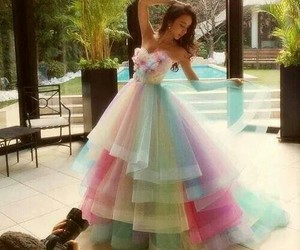 beautiful, gown, and rainbow image