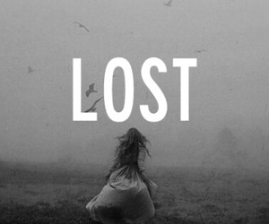 lost, black and white, and sad image
