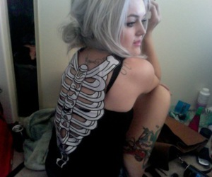 alternative, Tattoos, and white hair image