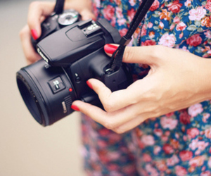 camera, floral, and red nails image