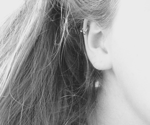 b&w, earring, and helix image