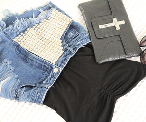 clutch, outfit, and cross image