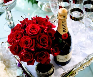 rose, champagne, and flowers image