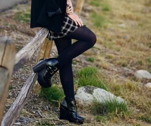 black tights, fashion, and black platform boots image