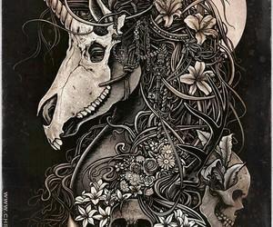 skull, unicorn, and art image