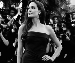 Angelina Jolie, beautiful, and black and white image