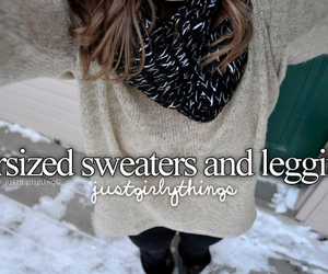 sweater, leggings, and winter image