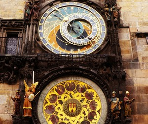 city, clock, and praha image