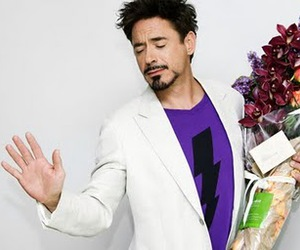 robert downey jr, iron man, and flowers image