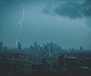 city, clouds, and lightning image