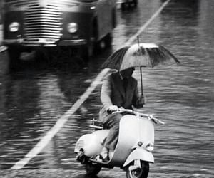 black and white, Vespa, and italy image
