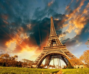 sunlight, eiffel tower, and sky image
