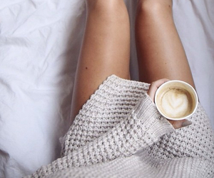 girl, coffee, and girly image