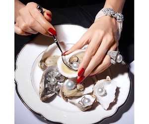 luxury, nails, and pearl image