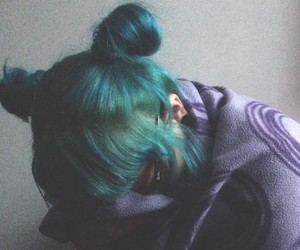 blue hair, buns, and turquoise hair image