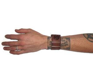 brown, leather, and cuff image