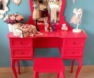 dresser, red, and antique dressing table image