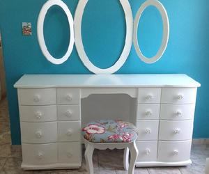 dressing table, makeup, and rustic design image